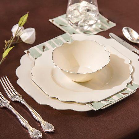 40 Pc Baroque Bone Plastic Dinnerware Value Set Smarty Had A Party