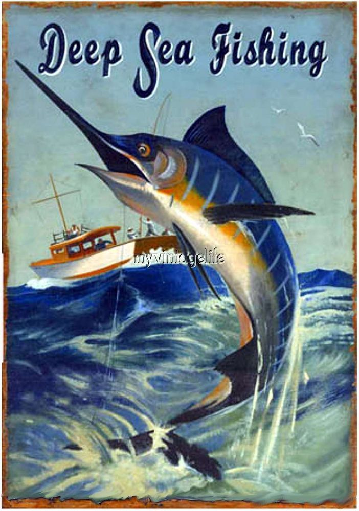 Details About Vintage Deep Sea Fishing Blue Marlin Quilting Fabric