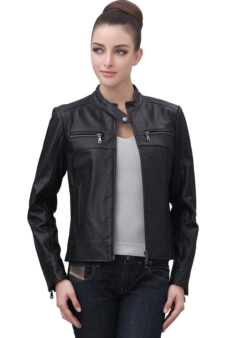 Cruzer Women's Classic Cowhide Leather Motorcycle Jacket