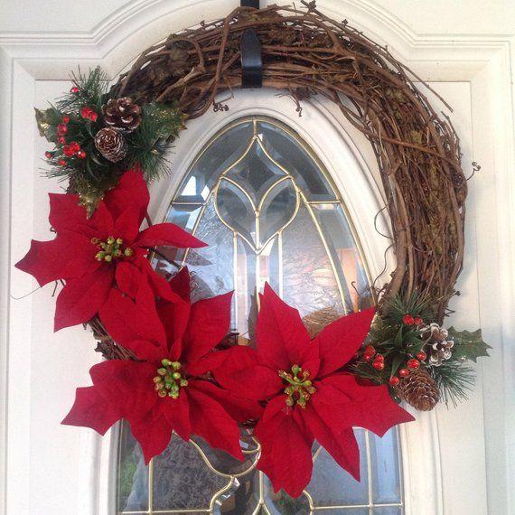 Christmas Front Door Wreath, Rustic Holiday Wreath, Front Door