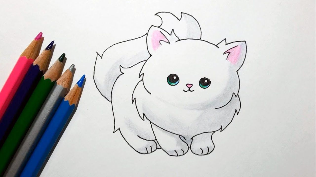 How To Draw A Cute Cartoon Cat Drawing A Fluffy Kitten Cartoon Cat Drawing Kitten Drawing Kitten Cartoon
