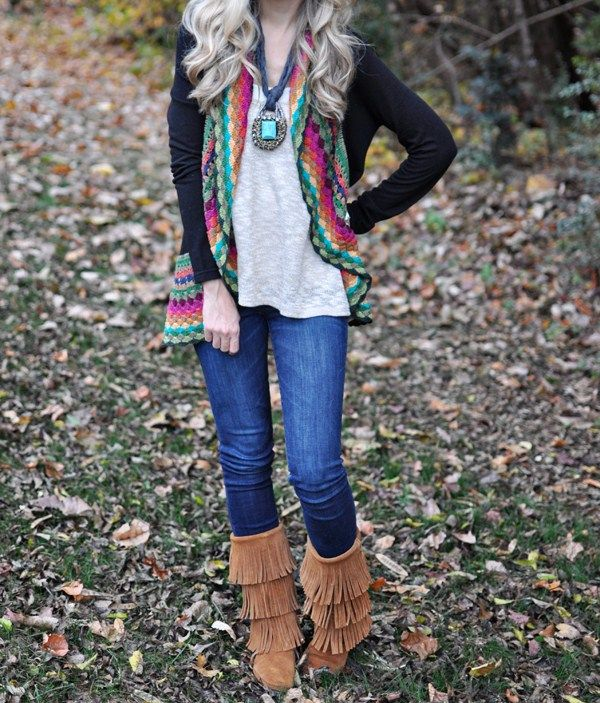 a28b1e1cc3cd Love this outfit! Minnetonka 3-Layer Fringe Boots   Style   Fashion ...