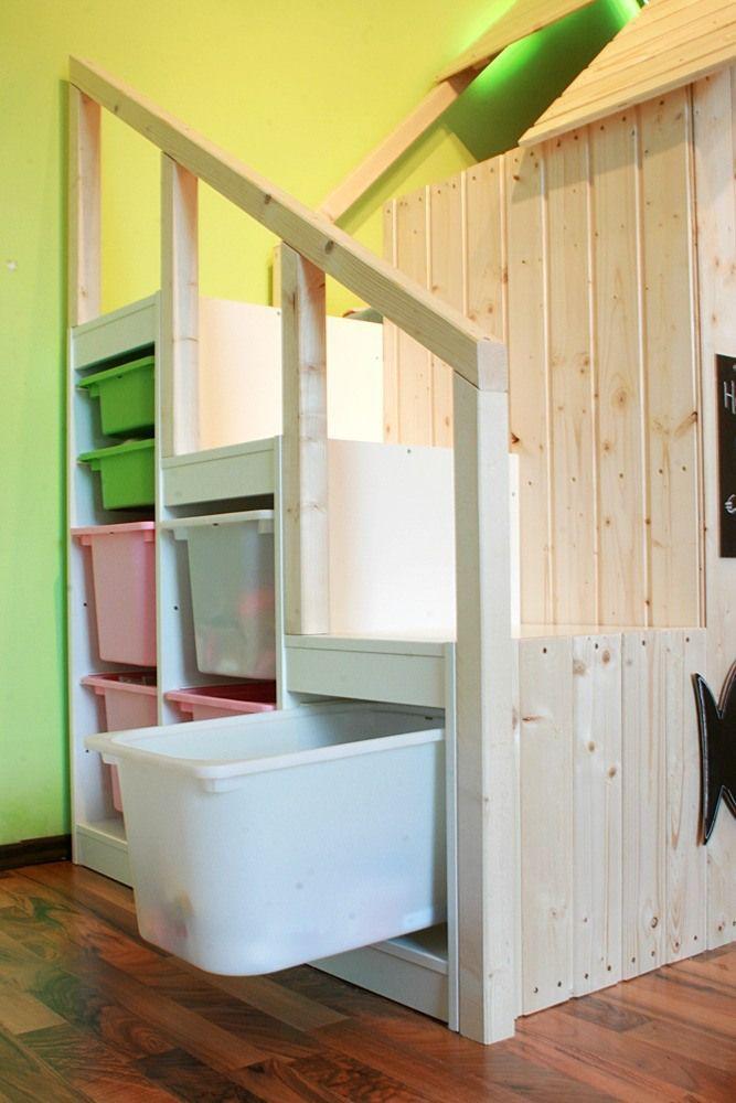 Ikea kura with hacked trofast steps bed pinterest for Spielzimmer einrichten ikea