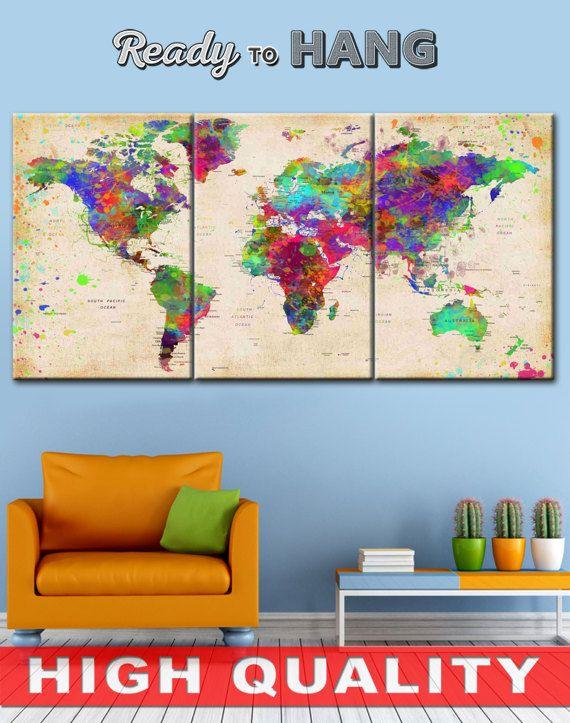 World Map Push Pin, World Map, Wall Decor, World Map Canvas, World Décor, World Map Poster, World Map Gift, World Map Print    High quality canvas prints! #interiordesign #interiorstyle #decorating #decorate #decor #artforsale #CanvasPrint #CanvasPrints #CanvasArt #homedecor #officedecor #canvas #CanvasMafia #ideaforgift