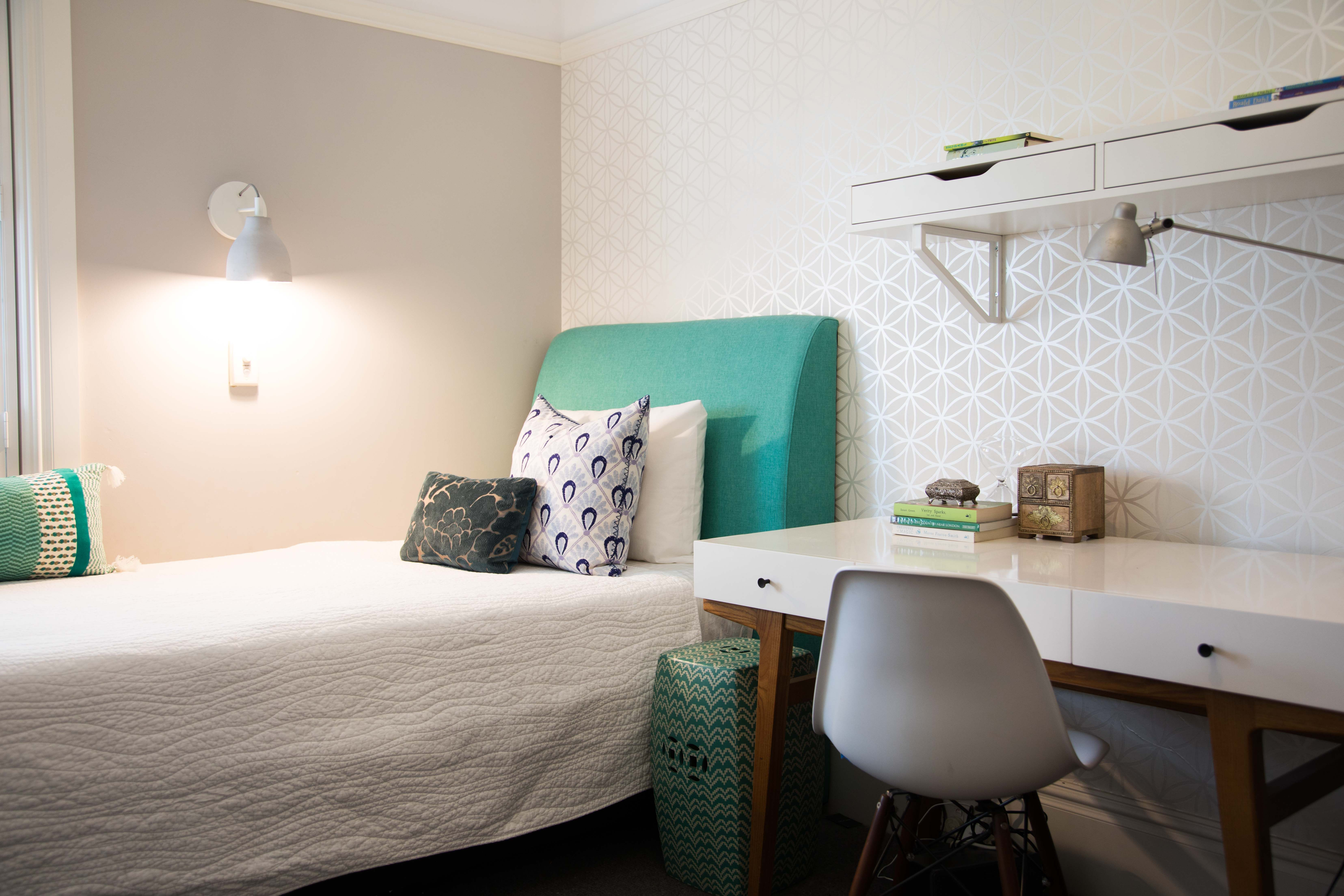 Bedroom Details, With Just A Pop Of Greenblue