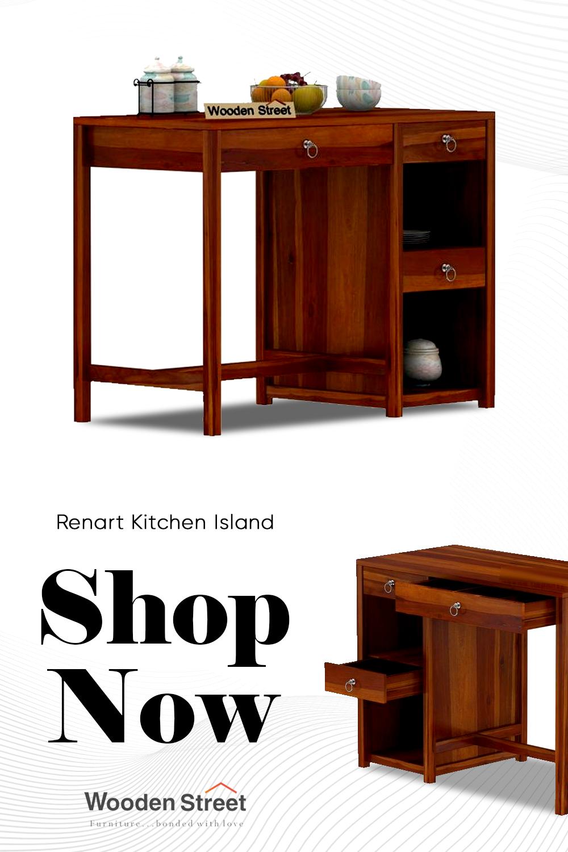 Buy Renart Kitchen Island Online In India Wooden Street In 2021 Wooden Street Kitchen Kitchen Island