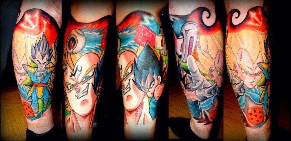 Dragonball Z Vegeta Leg Sleeve Geek Tattoo Dragon Ball Z Cool Tattoos