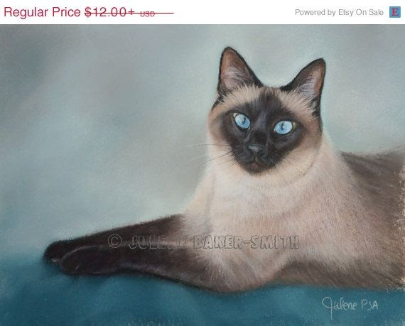 Summer Sale Siamese Cat Art Print Siamese Seal By Artbyjulene With Images Cat Art Print Cat Art Siamese Cats