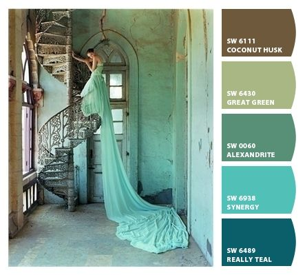 Teals Turquoise Mint Green Pistachio Browns Monochromatic Nursery Shower Party Wedding Palette Branding Marketing Design Coordinating Chic Paint Colors From