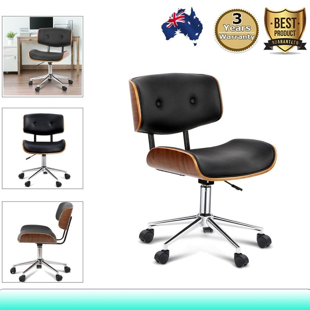 Executive Wooden Office Chair Home Leather Padded Computer Work Seat 360 Swivel In Home Amp Garden Furniture Desks Chair Office Chair Wooden Office Chair