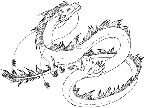 Cartoon Eastern Dragon coloring page from Dragon category. Select ...