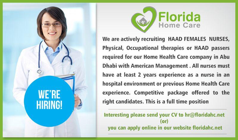 Floridahomecare hiring haad female nurses physical