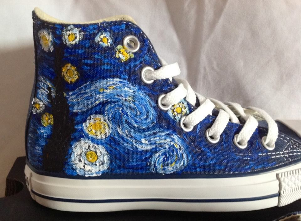 3336fe38ae497 Van Gogh - Starry Night converse   shoes   Converse, Painted shoes ...