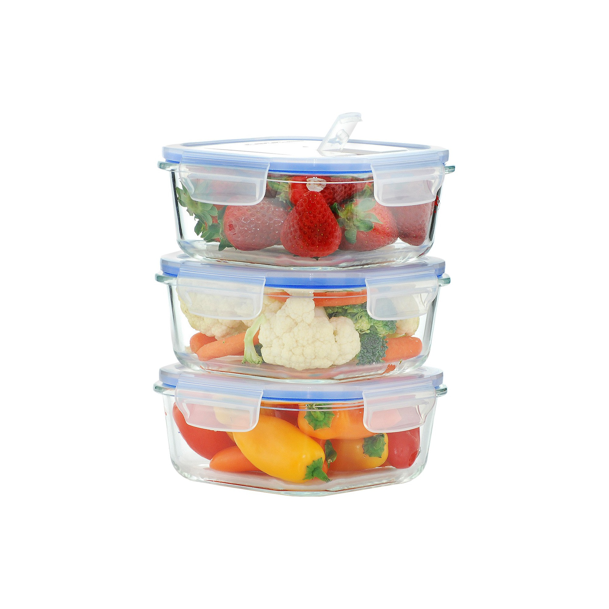 Kinetic Gogreen Glasslock Elements 6 Piece Square Oven Safe Glass Food Storage Container Set With Vented Lid 27 Oz Clea