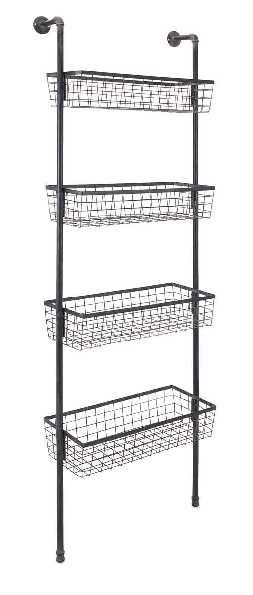Hanging Wire Rack W Hooks Hanging Wire Basket Wire Basket Storage Primitive Bathrooms