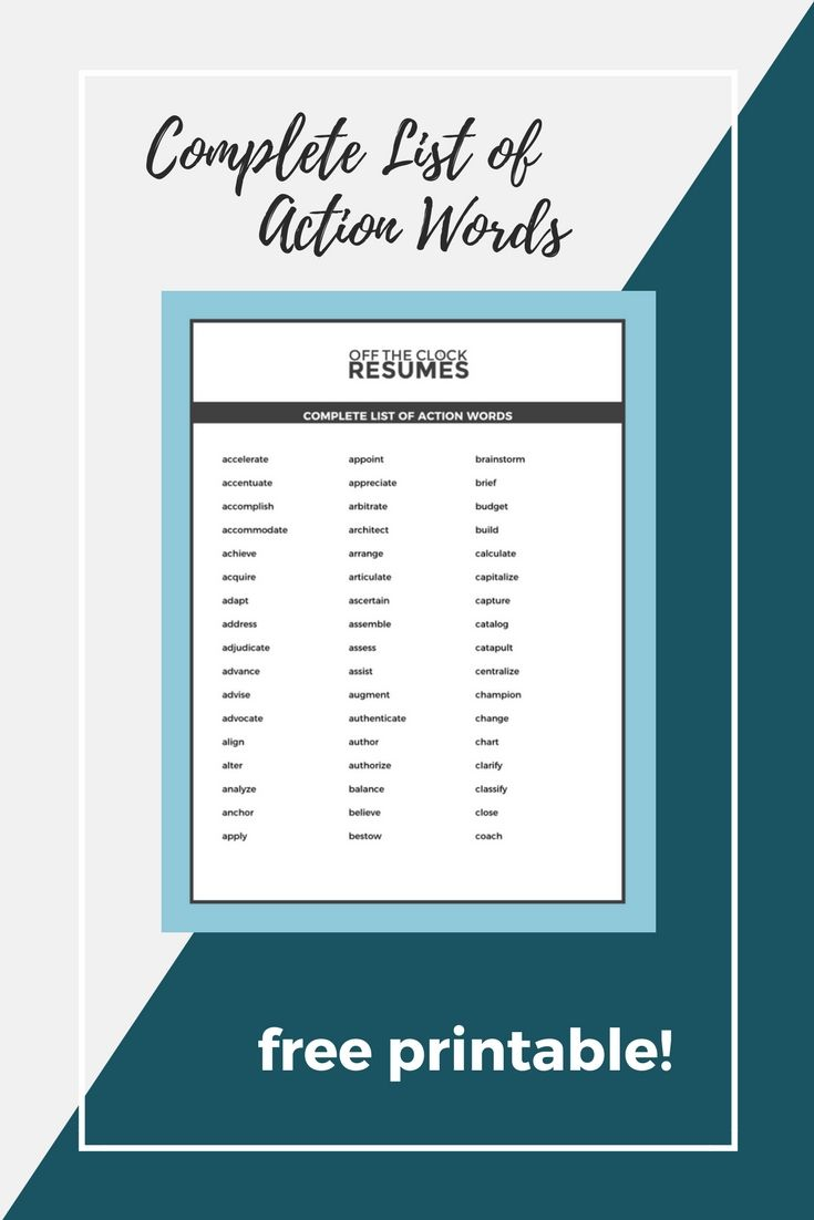 "Action Words For Resumes Prepossessing Replace Repetitive And ""responsible For"" Statements On Your Resume ."