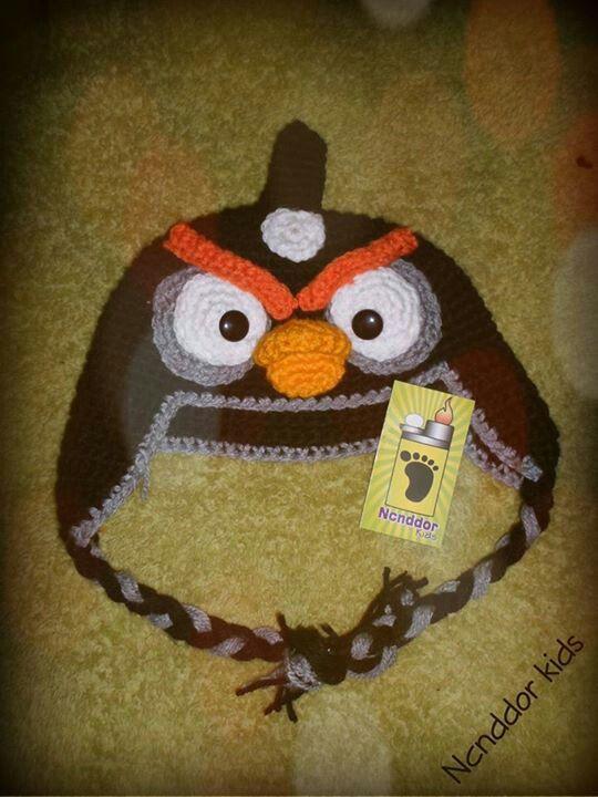 Gorro en crochet del personaje de angry birds