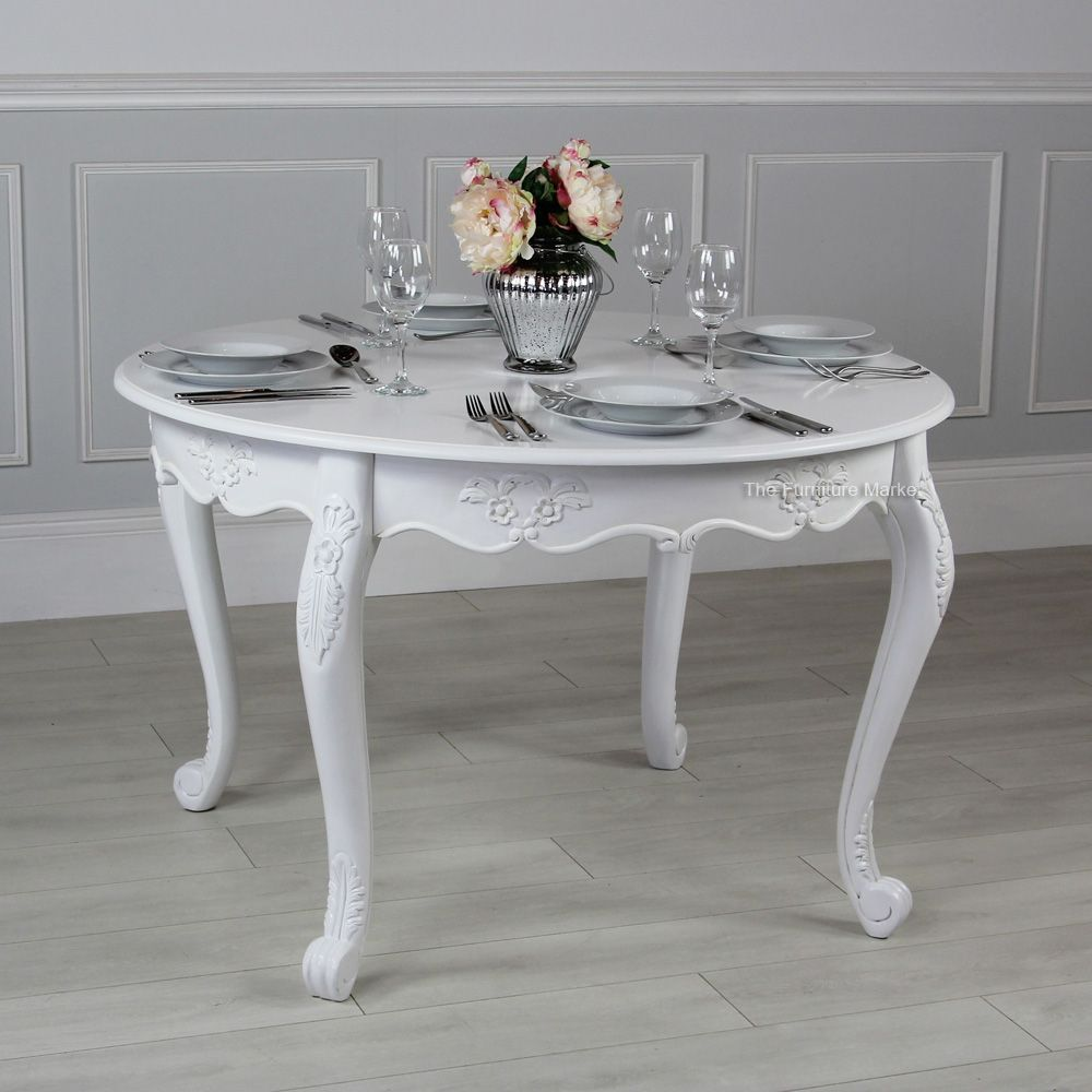 French Chateau White Painted Round 4 Seater Dining Table Dining Table 4 Seater Dining Table Table