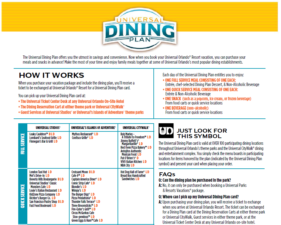 Universal Dining Plan Updated With More Restaurants Universal Studios Orlando Trip Universal Studios Orlando Planning Universal Orlando