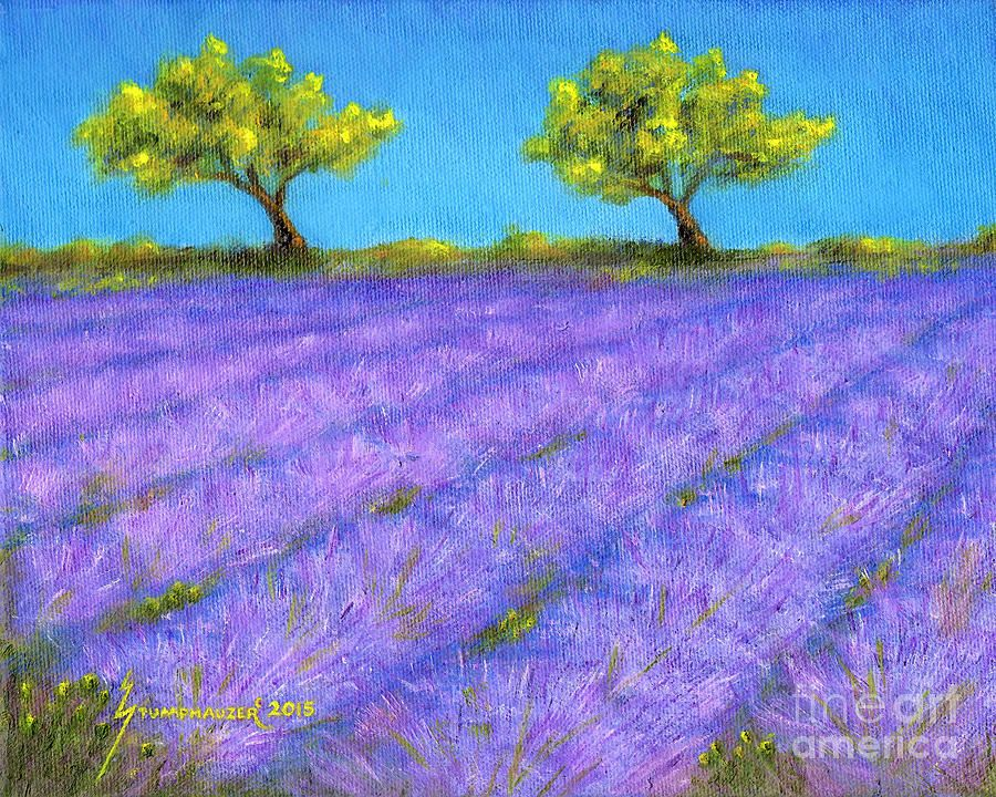 Lavender Field With Twin Oaks Painting