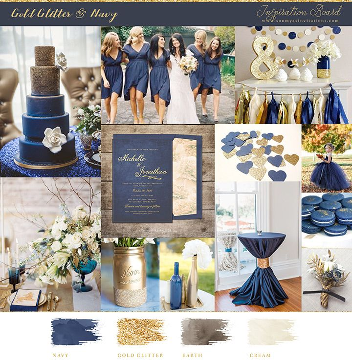 Wedding Ideas And Inspirations: Navy And Gold Wedding Mood Board And Inspiration
