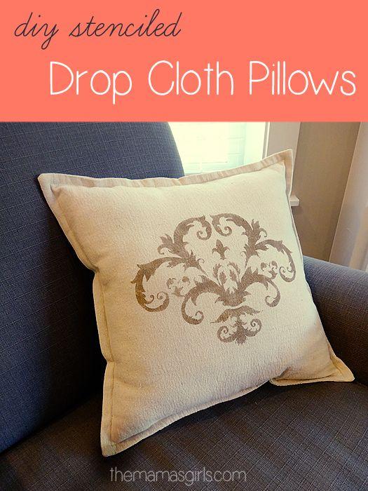 Stenciled Drop Cloth Pillows Stenciled Pillows Diy
