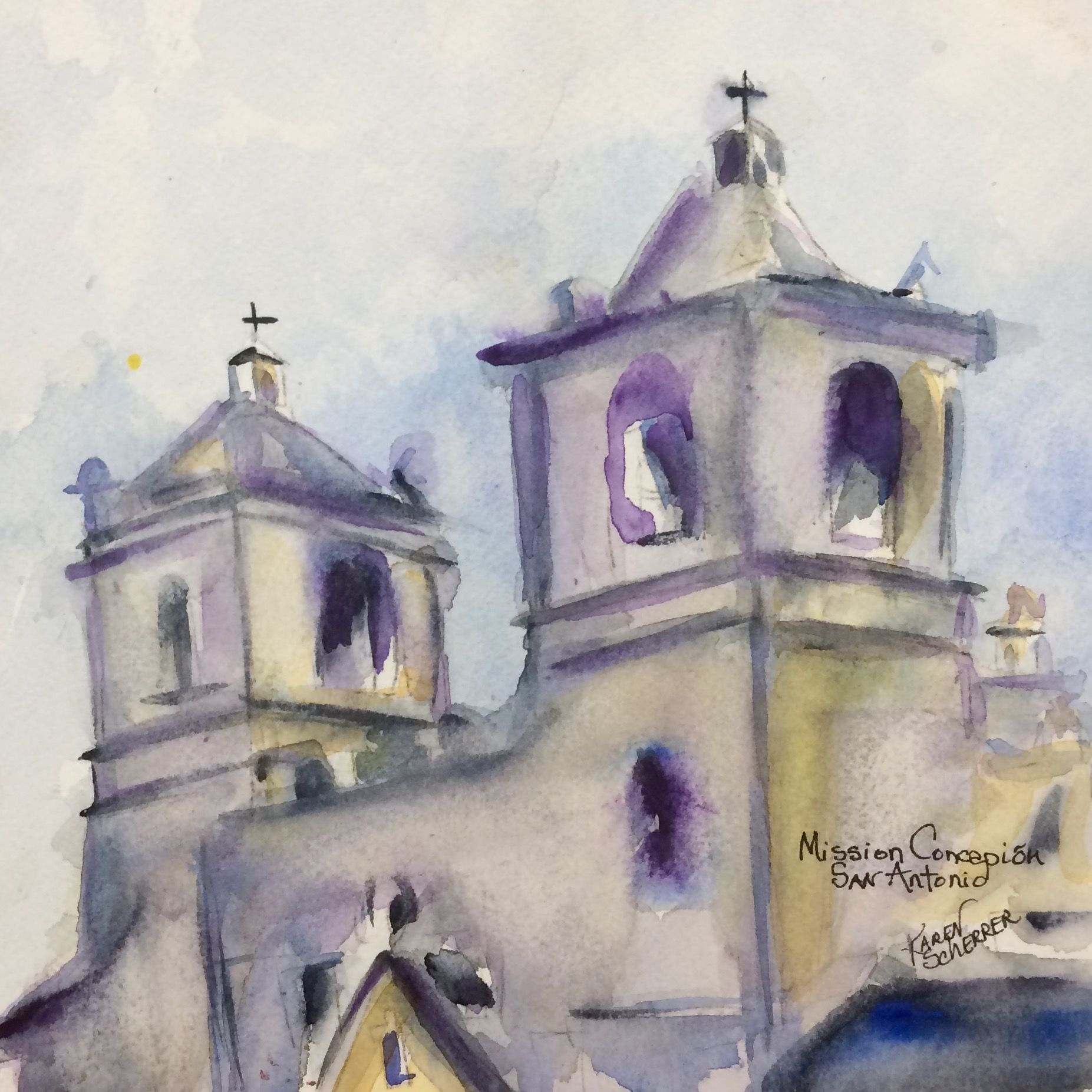 Watercolor artist in texas -  Mission Conception In San Antonio By Texas Watercolor Artist Karen Scherrer