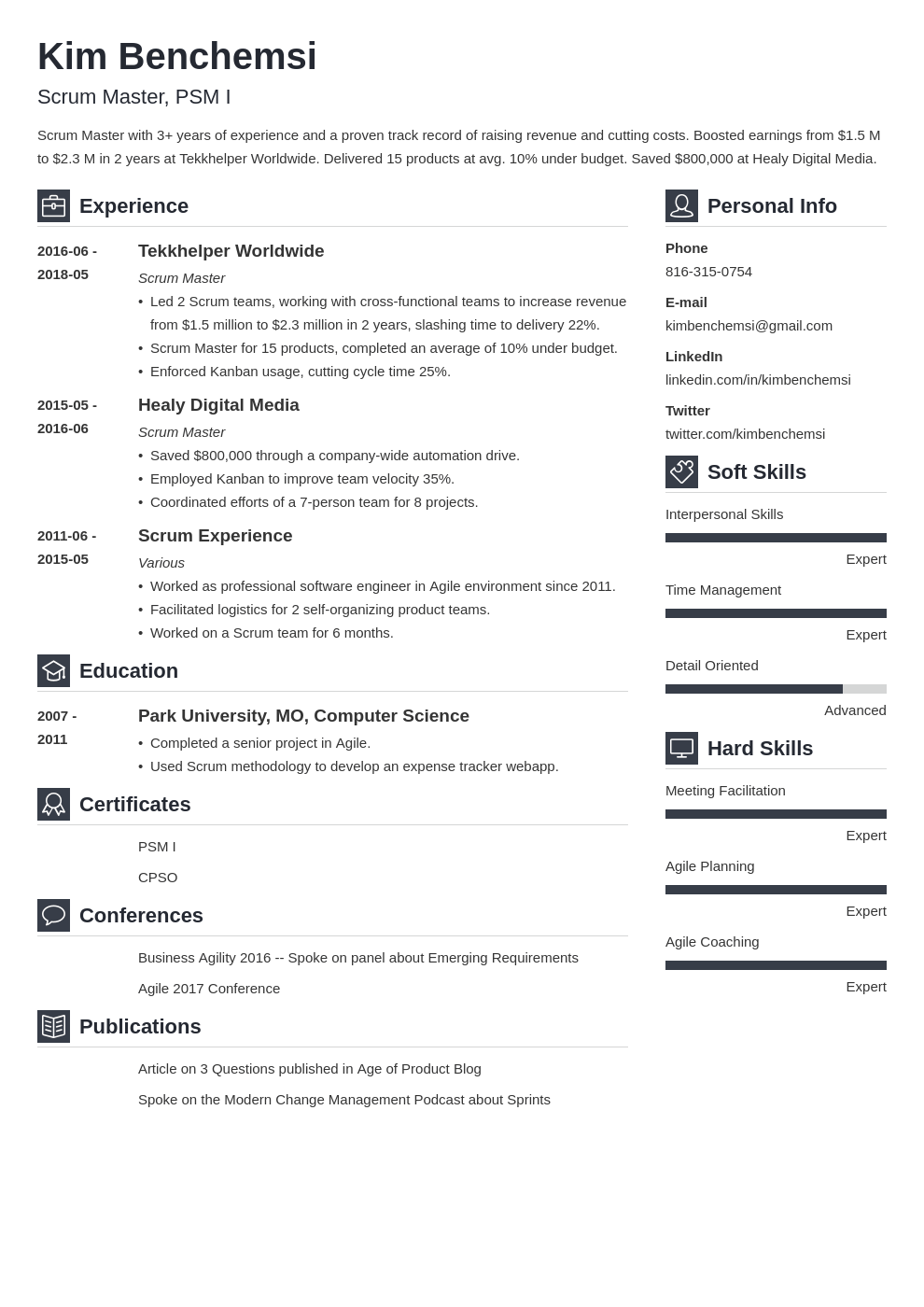 Scrum Master Resume Example Template Vibes Resume Examples Job Resume Examples Scrum Master