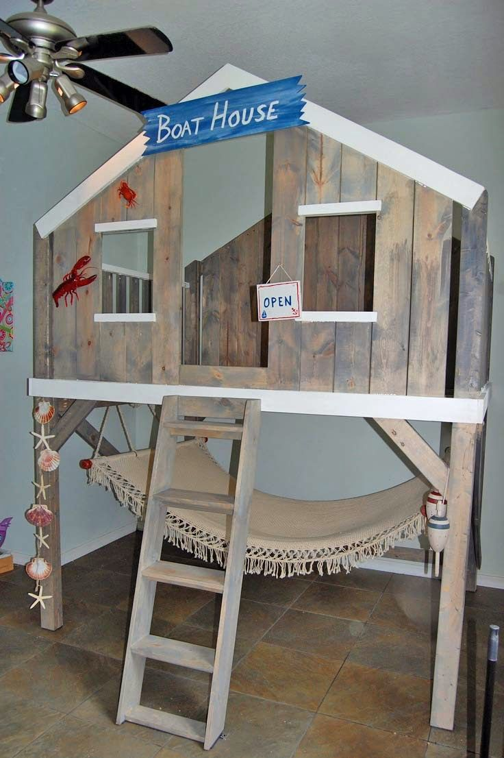Pottery barn loft bed with desk  Designing a Surf Shack Bed  Smart Girls DIY  backyard  Pinterest