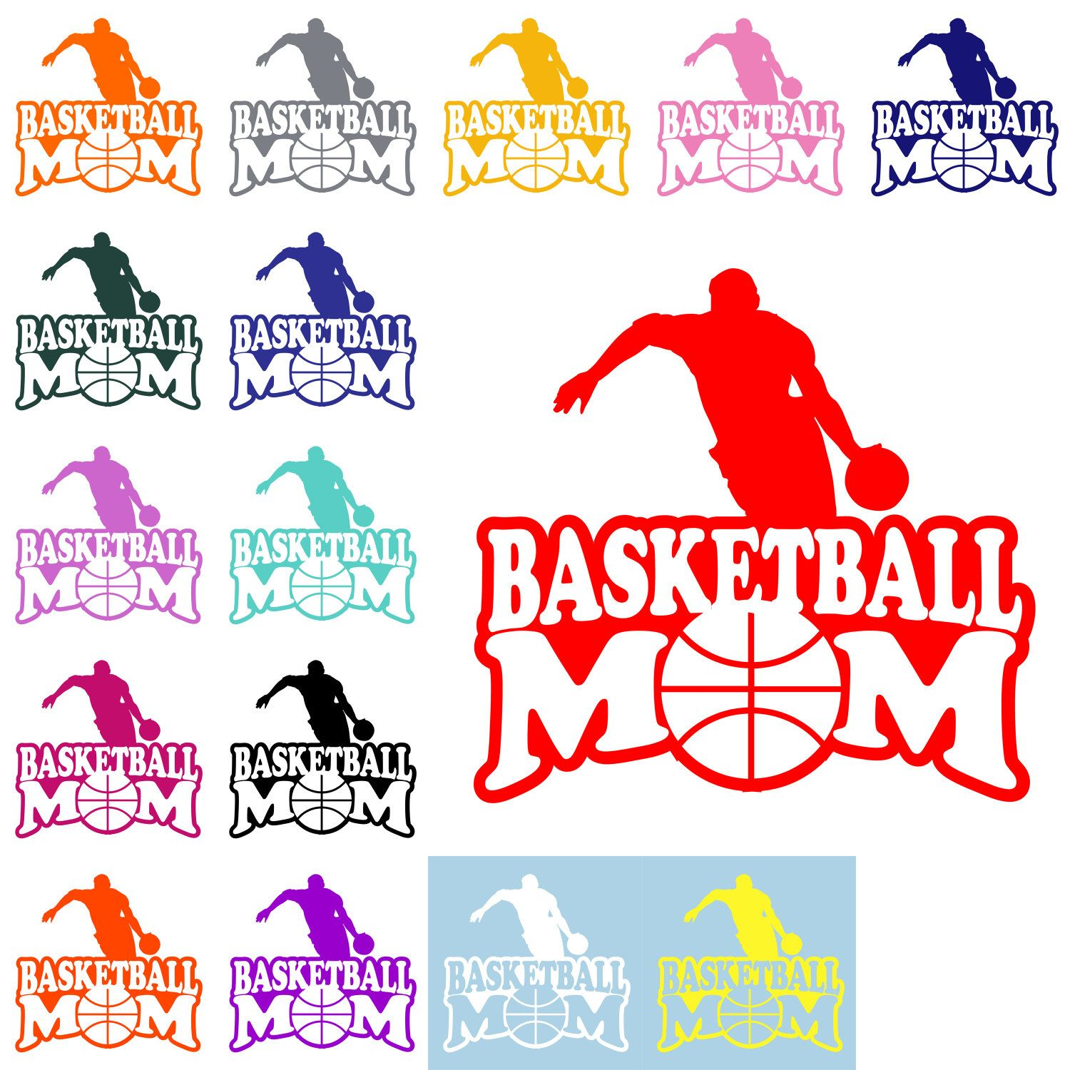 BASKETBALL MOM DECAL Basketball Mom Sticker Sports Mom Decal - Window decals for sports