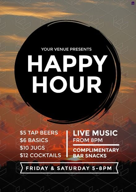 Happy Hour Poster Fully Editable Customise Your Food Beverage