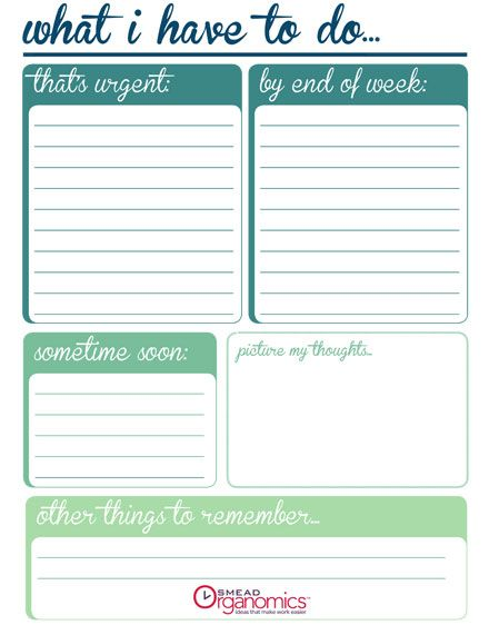 Printable Checklist: To Do Now Vs. Later | Organize Anything Group