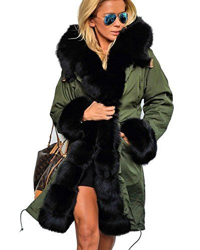 6bc062ff4ebc61 OMONSIM Women Winter Warm Thick Faux Fur Coat Outdoor Hood Parka Long Jacket  Size 818 XXL Green ** Continue to the product at the image link.