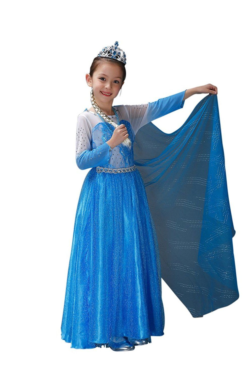 awesome E5 Disney Frozen Inspired Queen Elsa Costume Dress Halloween Party 4-12Y