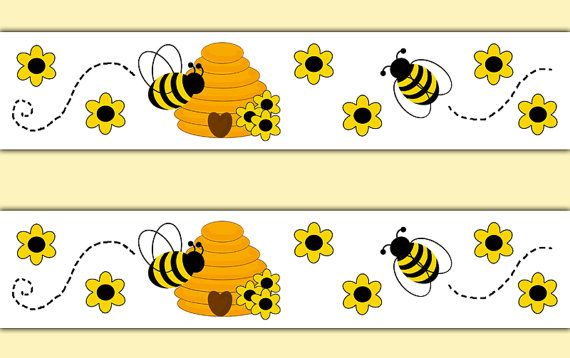 Honey Bumble Bee Wallpaper Border Decals Wall Art Stickers Nursery Decor Baby Girl Floral Room Kids Bug B Bee Decals Baby Nursery Decals Floral Kids Room Decor