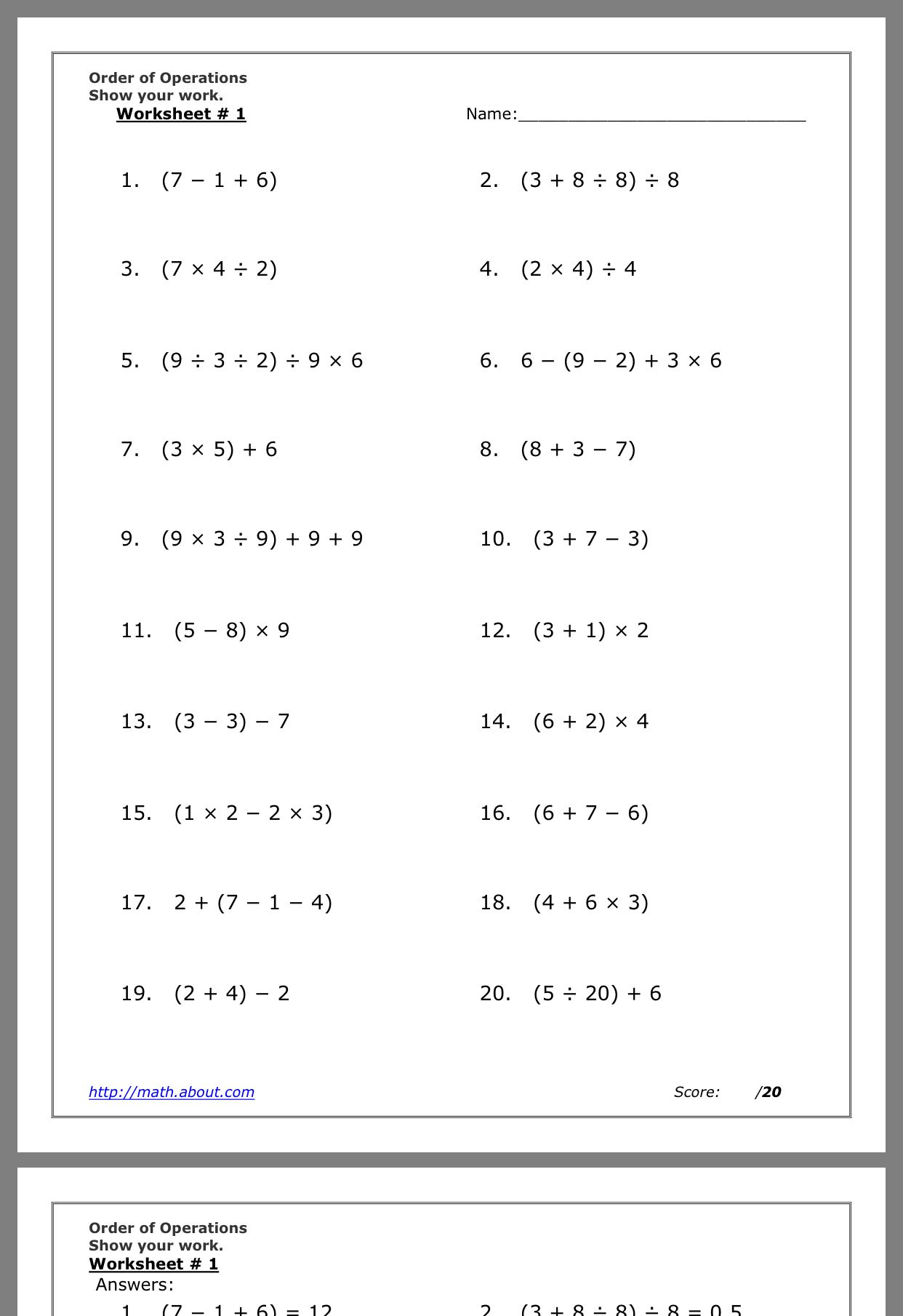 hight resolution of Pin by catherine huang on Math   Order of operations