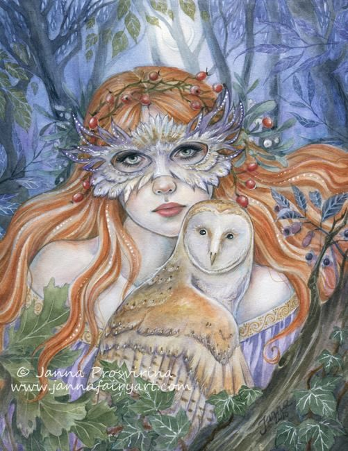 """""""Owl Lady"""" watercolors, white ink touches of watercolor pencils. """"Owl Lady"""" watercolors, white ink touches of watercolor pencils. Janna Prosvirina Fantasy Art"""