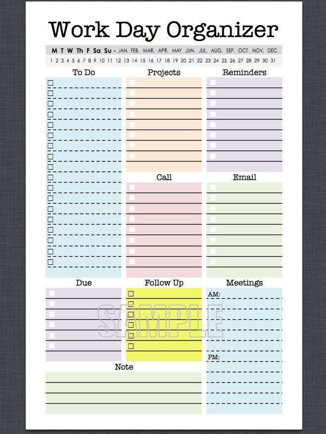 mini work organizer half letter size printable planner page