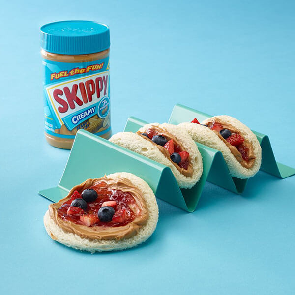 Peanut Butter and Jelly Tacos - Recipes - Skippy Brand Peanut Butter #peanutbutterpopcorn For a fun new way to eat your favorite PB&J, try SKIPPY Peanut Butter and Jelly Tacos.