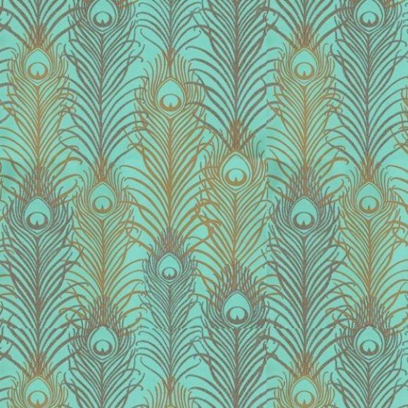 Papier peint vert jade et or métallisé motif plume de paon – Peacock dOsborne & Little