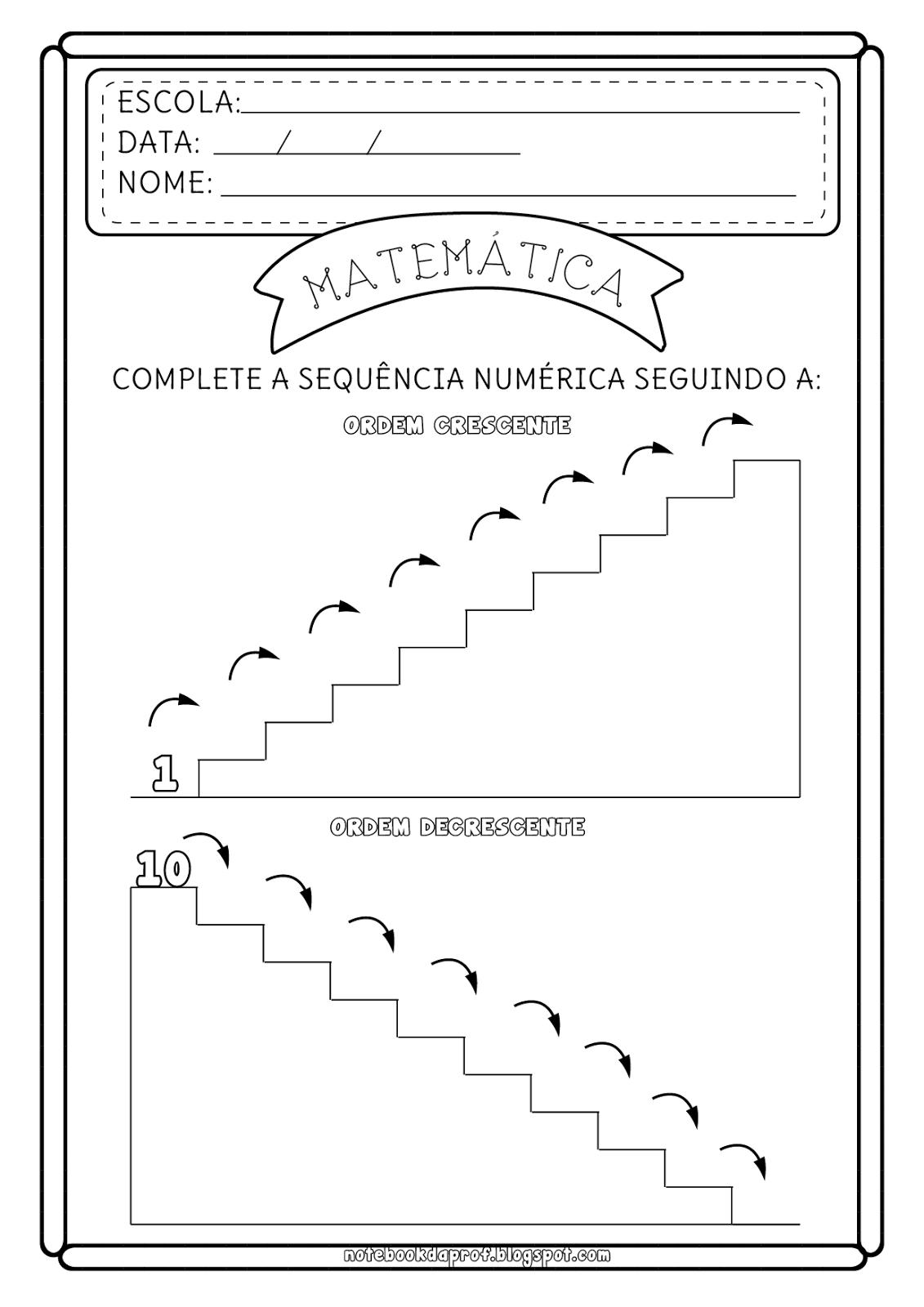 Atividade Ordem Crescente e decrescente | Mathe, Zahlen und Schule