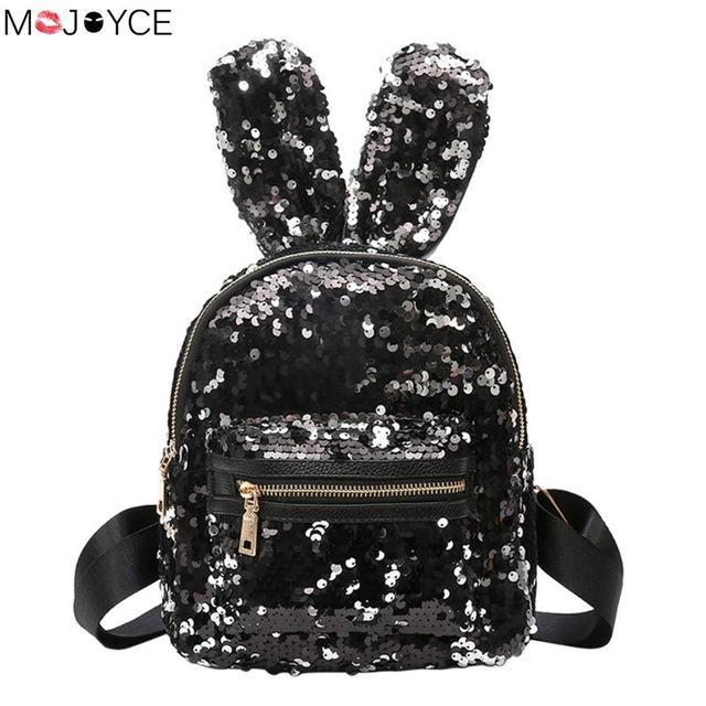 Shinning Bling Sequins Cute Big Rabbit Ears Backpack for Teenager Girls  mochila Shoulderbag Women Mini Travel cute Bag escolar 9bbe6550ce524