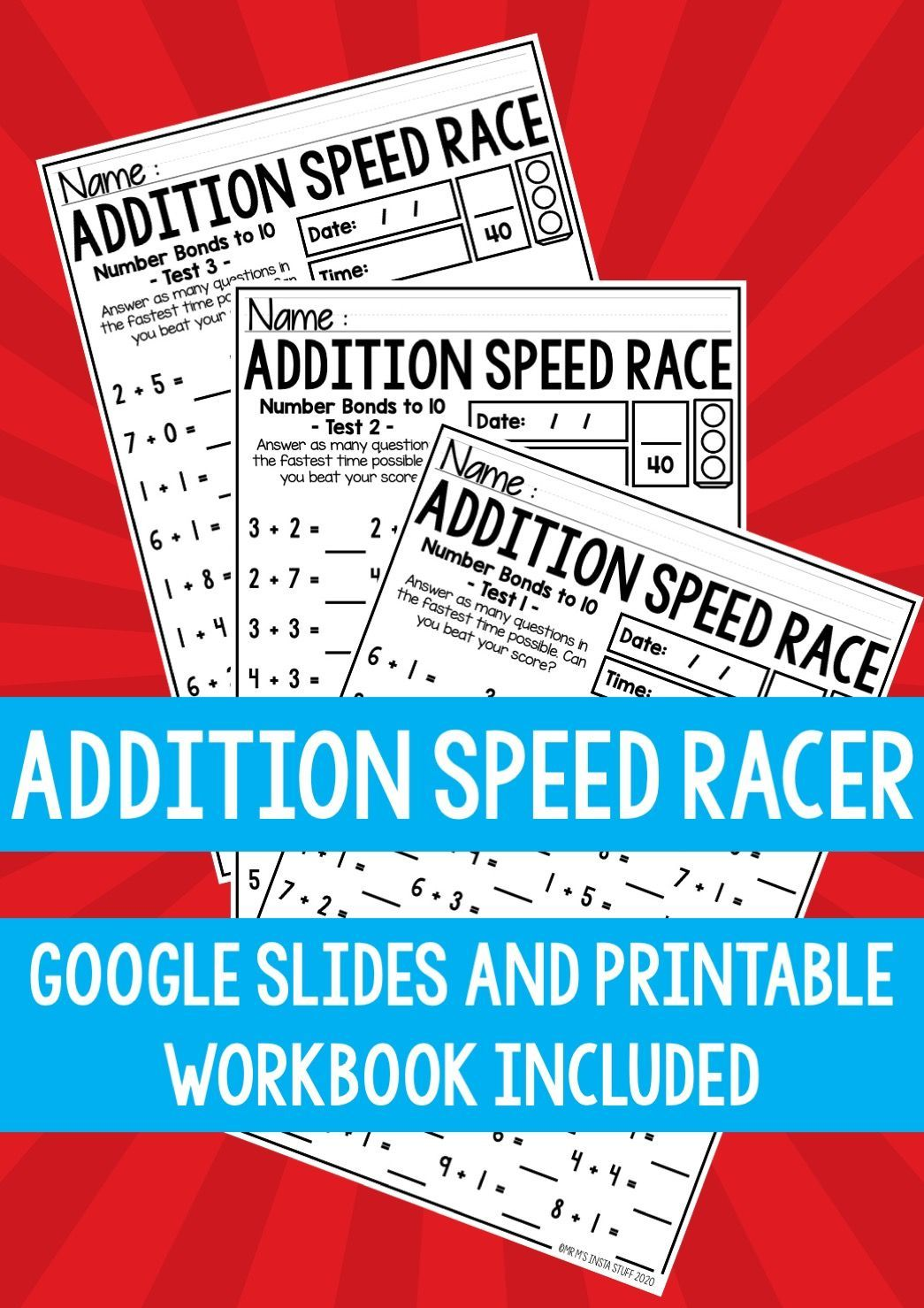 Addition Speed Racer Slides And Printable