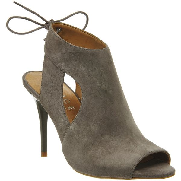 Office Quiver Cut Out Shoe Boots Grey Suede - Mid Heels