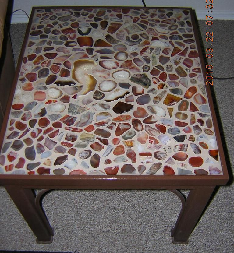 Made Table And Top Myself Sliced And Polished Stones Set
