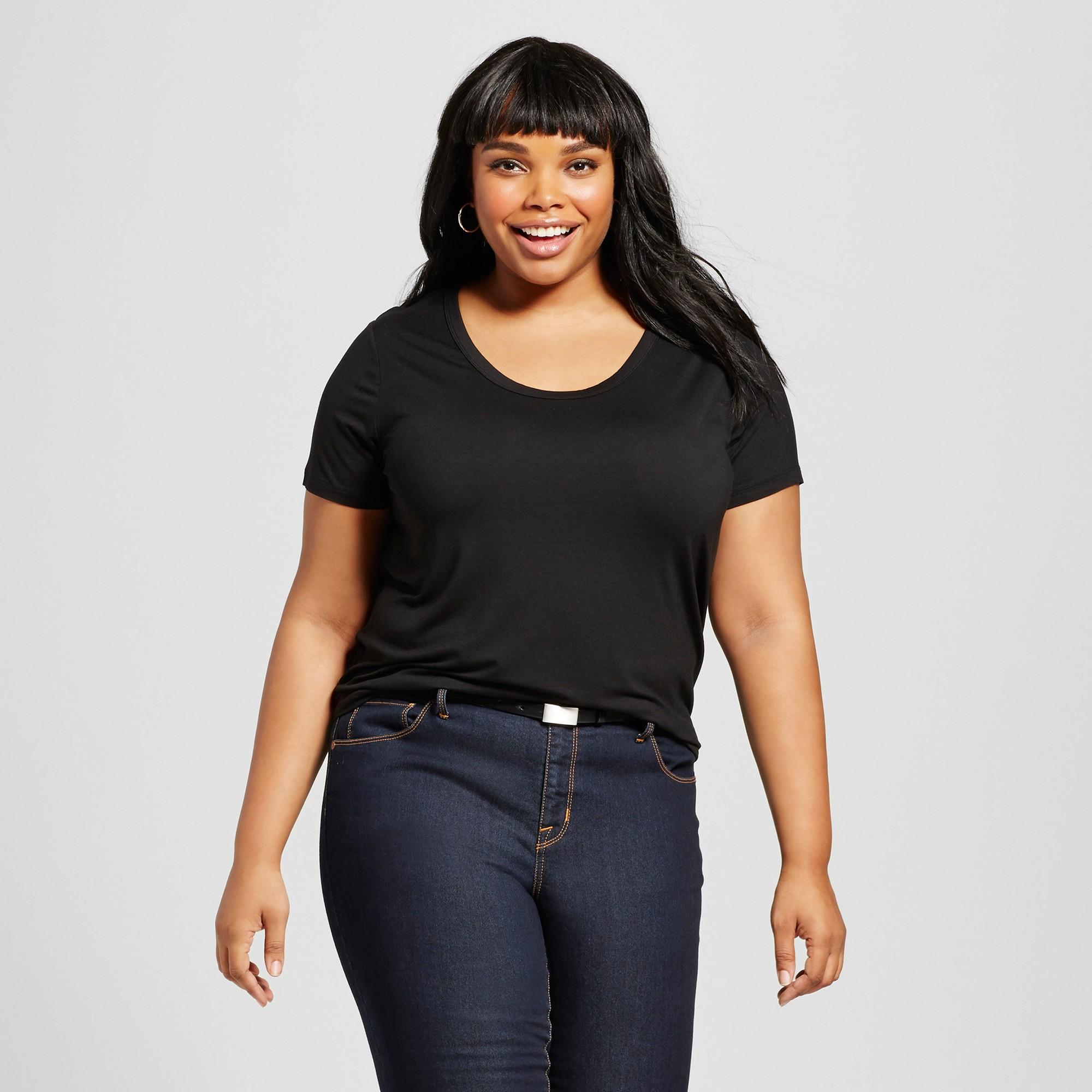 bb07b21be7 Women s Plus Size Perfect T-Shirt - Ava   Viv Black 4X