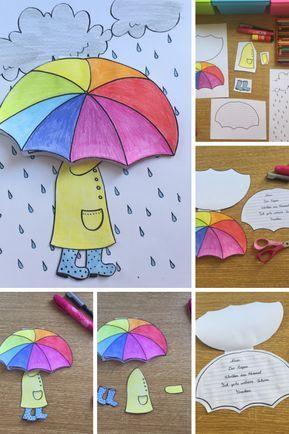 Regenschirm Craftivity für Elfchen, Gedichte oder kleine Schreibanlässe- Herbst und Regen – Unterrichtsmaterial in den Fächern Deutsch & Fachübergreifendes