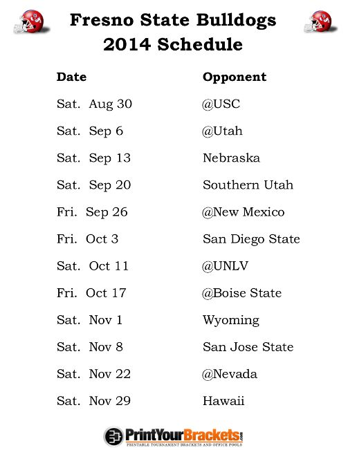 Printable Fresno State Bulldogs Football Schedule 2014 Houston Cougars Football Missouri Tigers Football Texas Longhorns Football