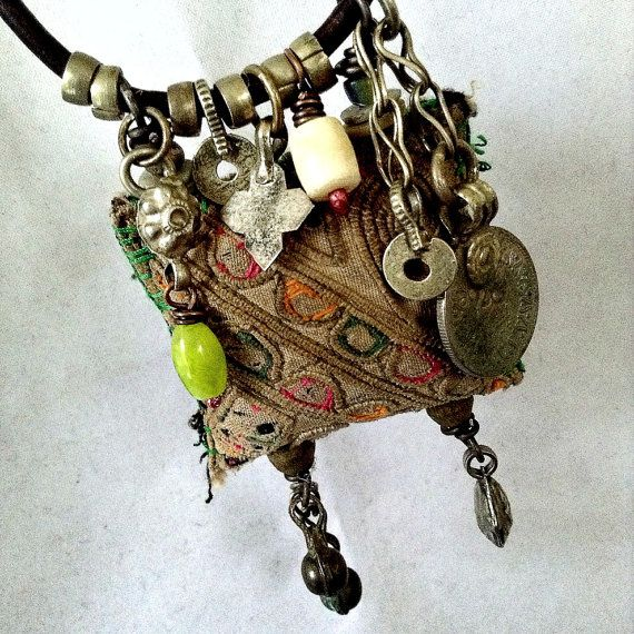 Gypsy amulet necklace with Hmong textile kuchi leather