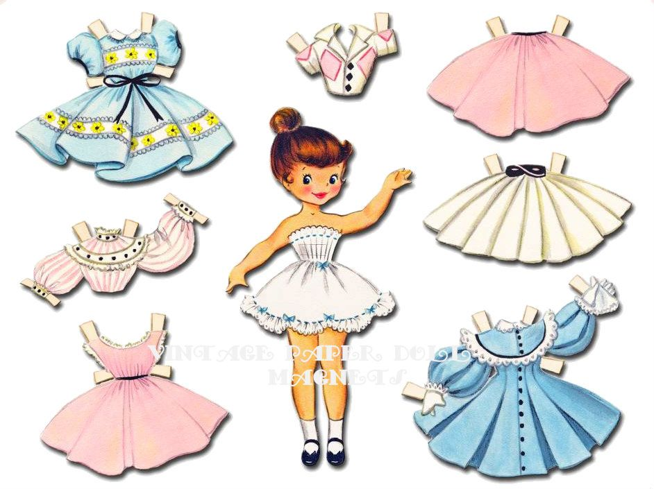 Vintage Paper Doll Magnets In Tin Paper Doll Pinterest Paper